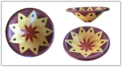 """Yellow Flower, 10.75"""" x 3.5"""". Made with African Padauk, Yelllowheart, Purpleheart and Wenge. Made using the bowl from a board technique."""