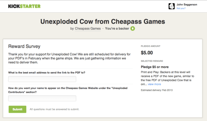 Unexploded Cow: Reward Survey