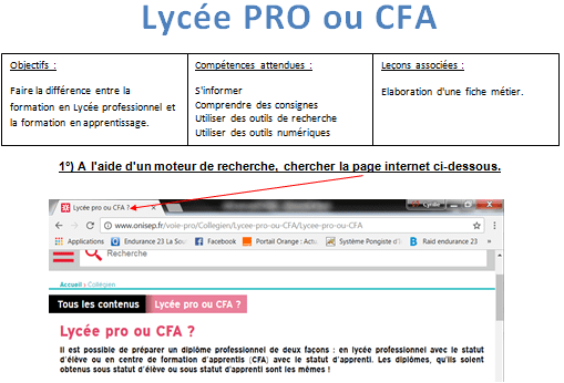 CFA ou Lycée PRO