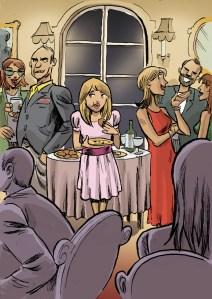 Elda na festa com os pais e convidados