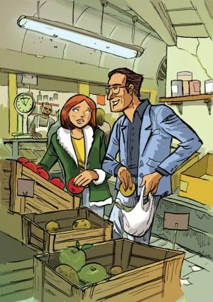 Carola e Marcello no mercado