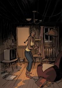 Brísida sozinha na cave escura