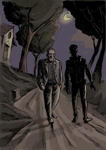 Marcello caminha com um vulto à noite