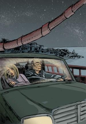 Elda e Marcello atravessam a ponte de carro