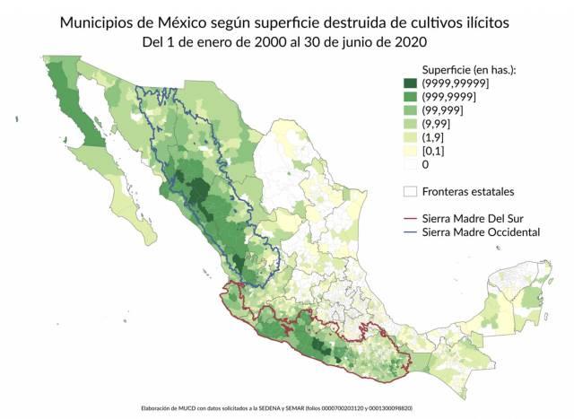 Municipios de México según superficie destruida de cultivos ilícitos