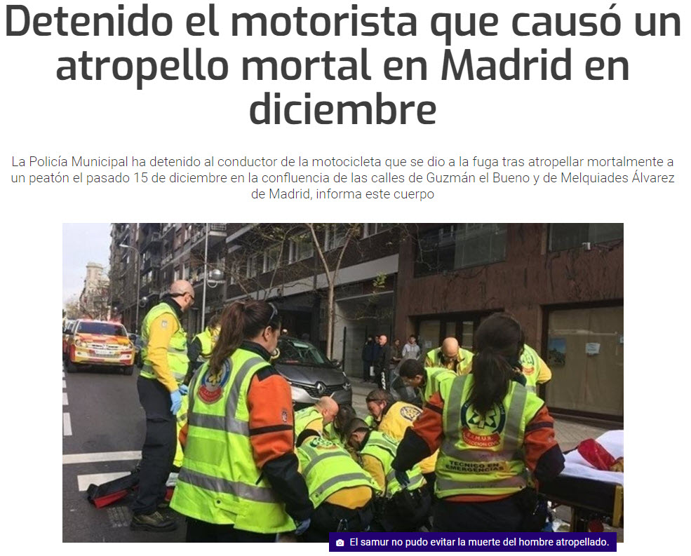 Titular de la noticia del atropello