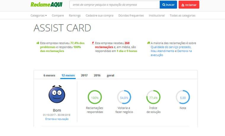 reclame aqui assist card