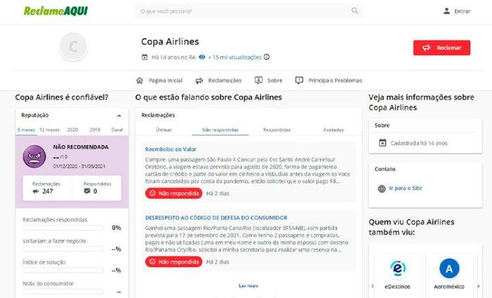 Copa Airlines Reclame Aqui