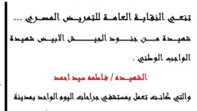 Photo of التمريض: شهيدة جديدة بـ فيروس كورونا بجراحات اليوم الواحد بمدينة نصر