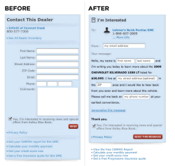before and after screenshot of mad libs input form redesign