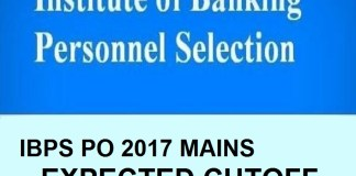 IBPS PO 2017 expected cutoff