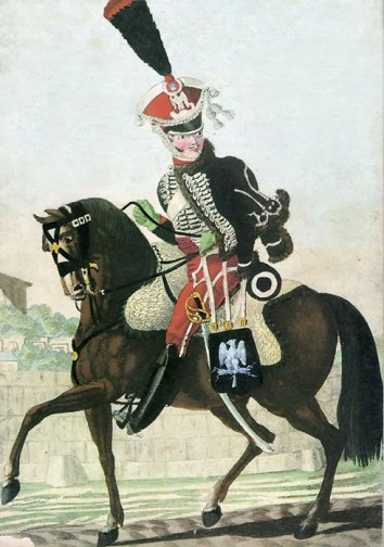 Cavalier du 1er régiment de gardes d'honneur - Planche d'Aaron Martinet, 1813.
