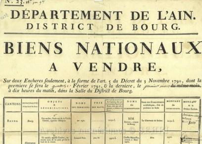 Affiche annonçant la vente de biens nationaux, 1793 - Photo fonds iconographique de la SEHRI