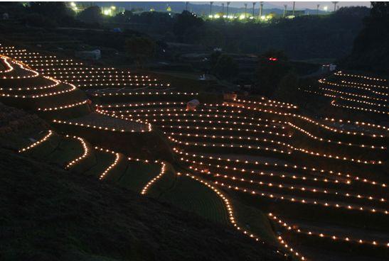 下幻想的な下赤坂の棚田のライトアップ