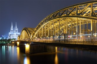 The Hohenzollern bridge with cathedral in the background