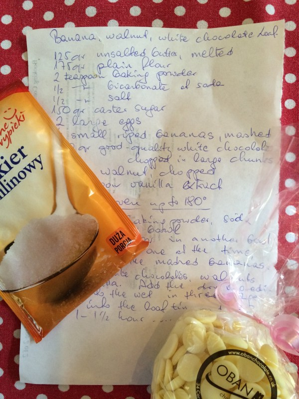banana bread recipe and ingredients