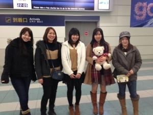 Arisa, Erika, Rena, Yurie, and Kaede at Fukuoka Airport