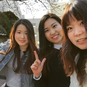 Haruna, Shiori, and Yurina on campus