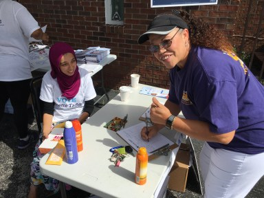 SEIU Local 1991 member Shelley Pagan-Jones volunteering at an event for Annette Taddeo