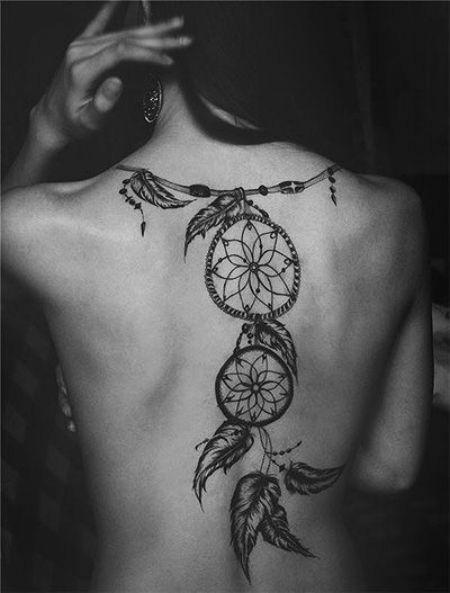 inspirações de tattoos filtro dos sonhos nas costas