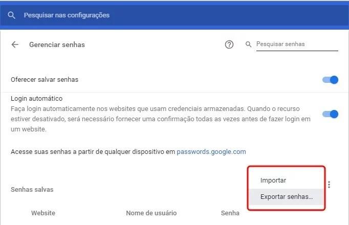 Como exportar senhas do Google Chrome? 2