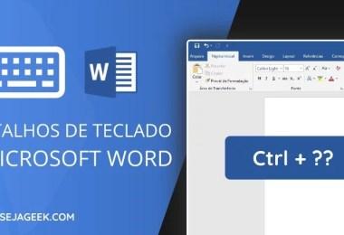 Atalhos de teclado para o Microsoft Word