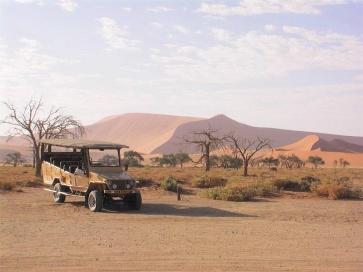 ナミブ砂漠の帰りのジープ乗り場。 ここでは少し木々もあり、木陰で休むことができた