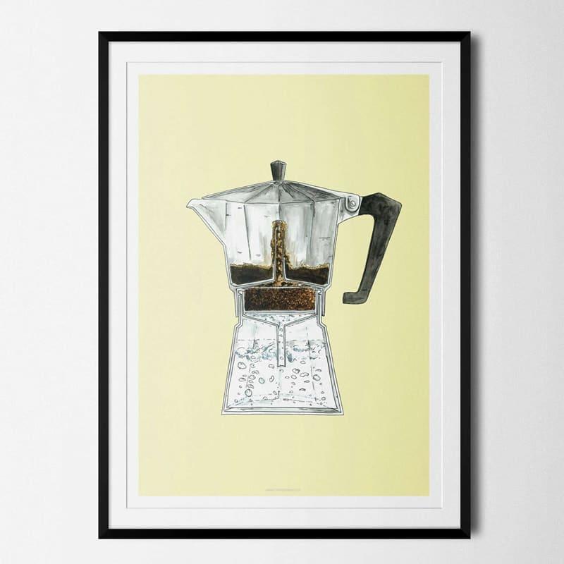 Plakat Moka Pot Kaffe Coffeeprints