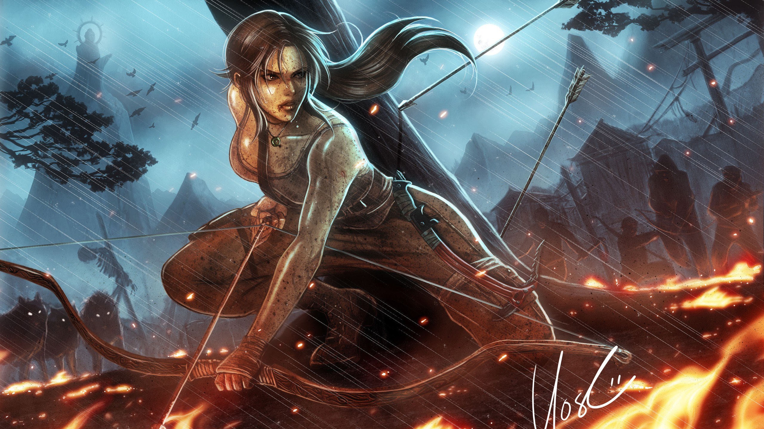 tomb-raider-lara-croft-brunette-bow-arrow-rain