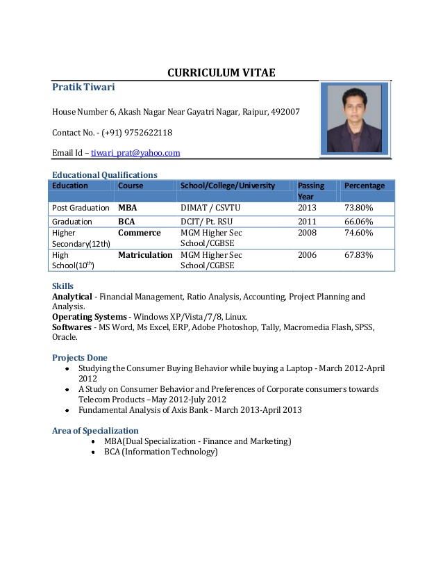 Download Free Resume Format For Freshers | Resume Format And