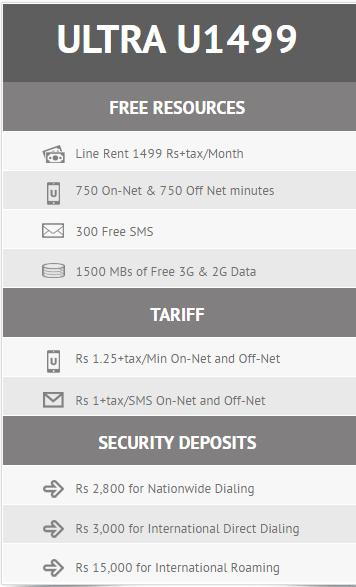 Ufone Postpaid pakcages 2017 u1499