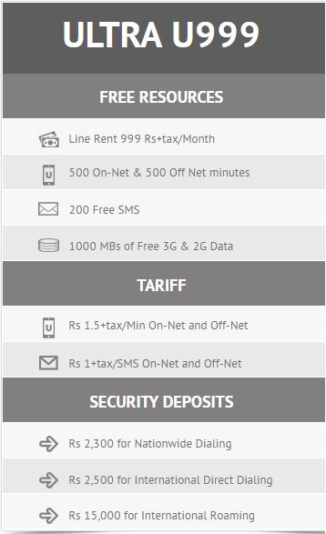 Ufone Postpaid pakcages 2017 u999