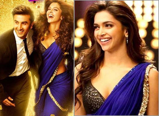 Deepika Padukone in Blue Sari