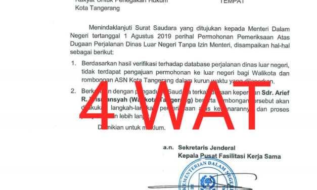 Kemendagri Tegaskan, Keluar Negeri Walikota Tangerang Tak Pernah Izin