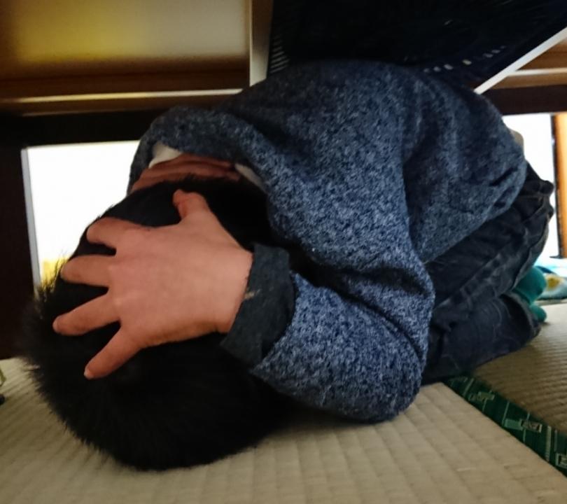 机の下でダンゴムシ