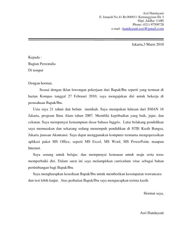 Contoh Surat Lamaran Kerja Admin