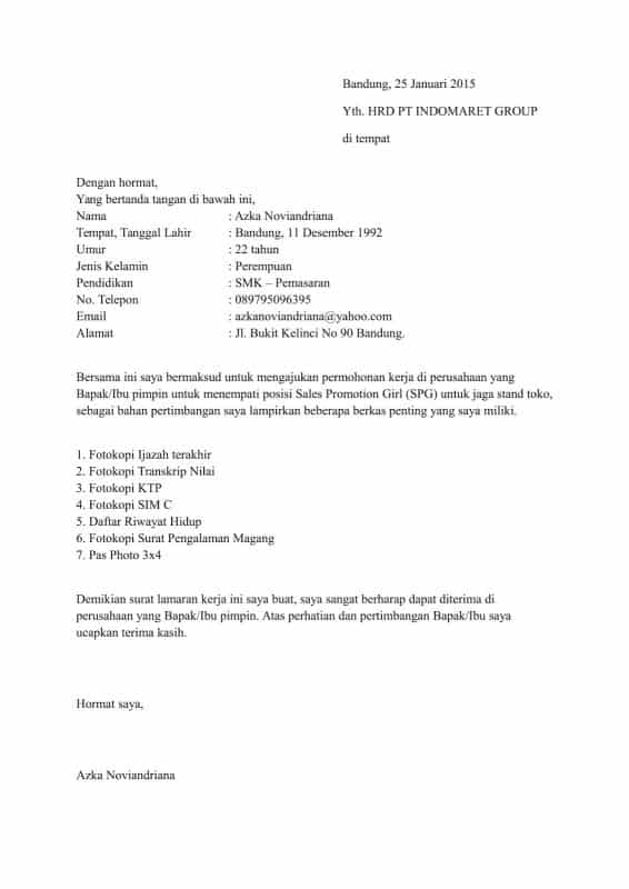 Contoh Surat Lamaran Kerja Anak SMK