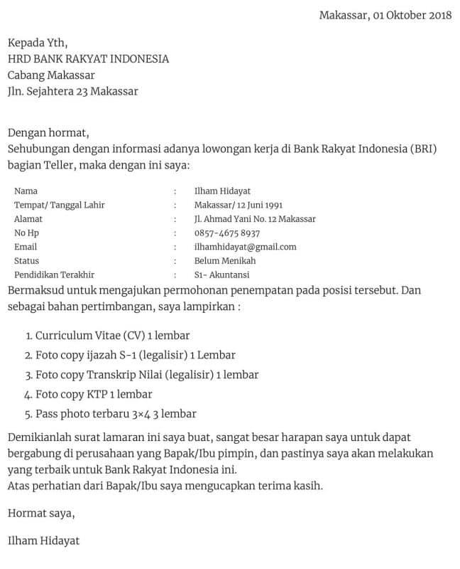 Contoh Surat Lamaran Kerja Bank