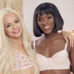 Elsa heeft opwindende interraciale lesbische seks met een exotische babe