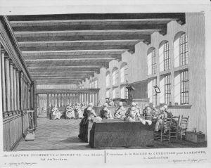 Tekening van H.P. Schouten van het interieur van het Amsterdamse Spinhuis in 1783.