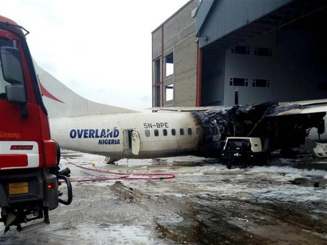 Overland Aircraft Catches Fire At Murtala Muhammed Airport