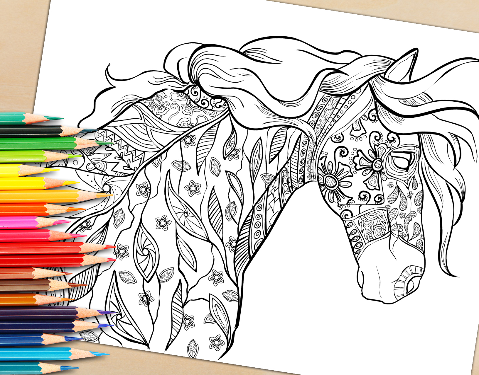 Adult Coloring Book Page Decorative Horse Coloring Page For