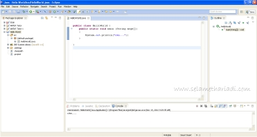Hello World dengan Java di Eclipse www.SelametHariadi.com