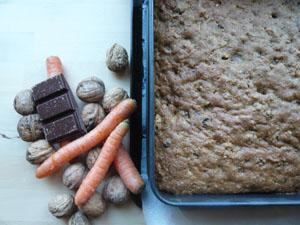 Rezept Karottenkuchen mit Nüssen und Schokolade