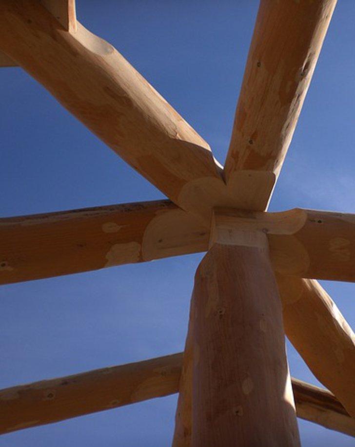 Dachstuhlkonstruktion aus Rundhölzern