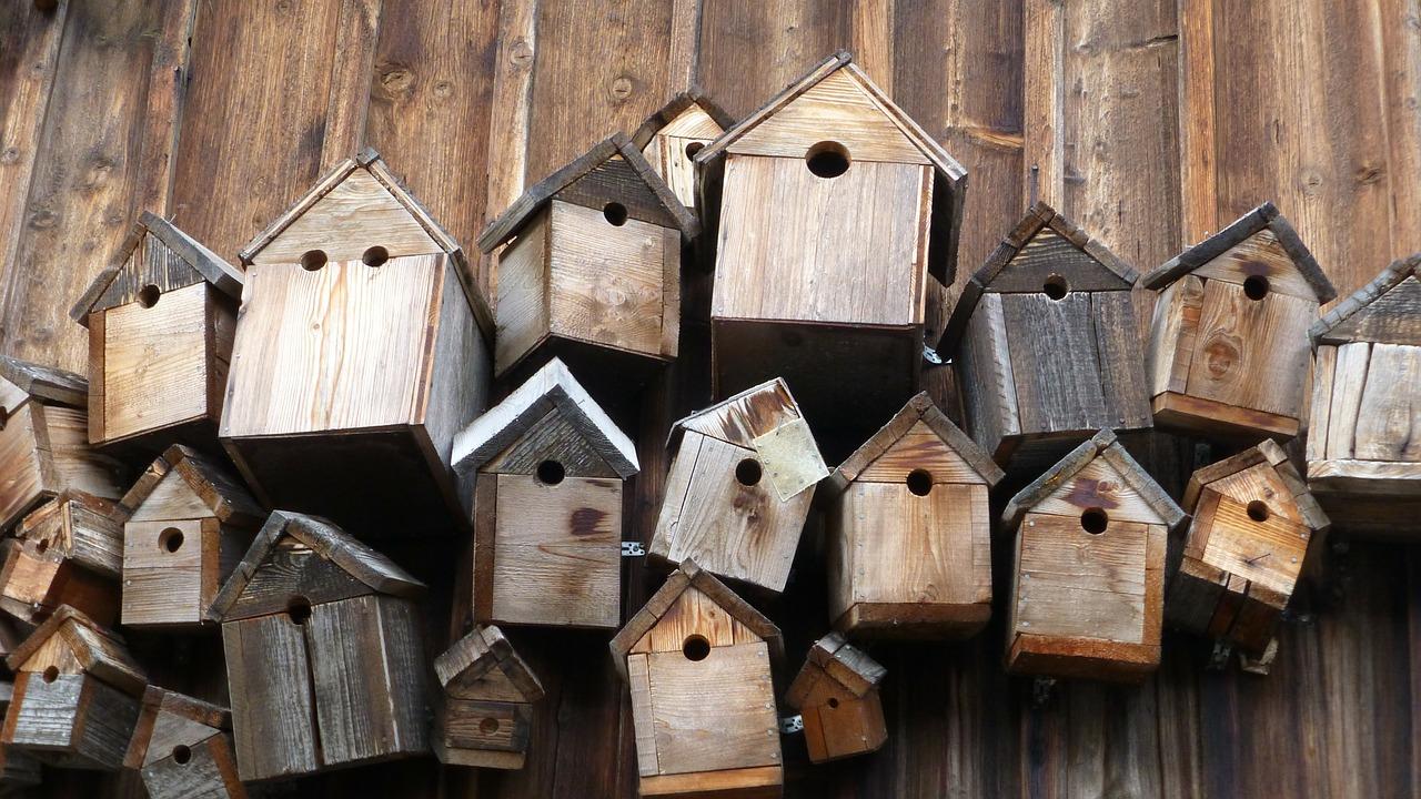 Viele verschiedene Nistkästen aus Holz