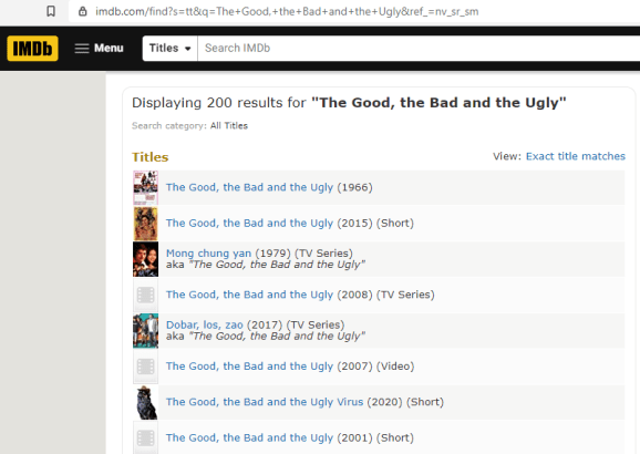 Search results page for 'The Good, The Bad and the Ugly' on IMDb