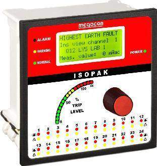 ISOPAK112W AC Ground Fault Monitor, Output Relay, Analog Output (12 Channels)
