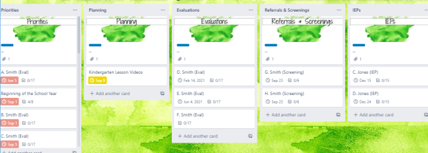 Image of work lists on my personal Trello board