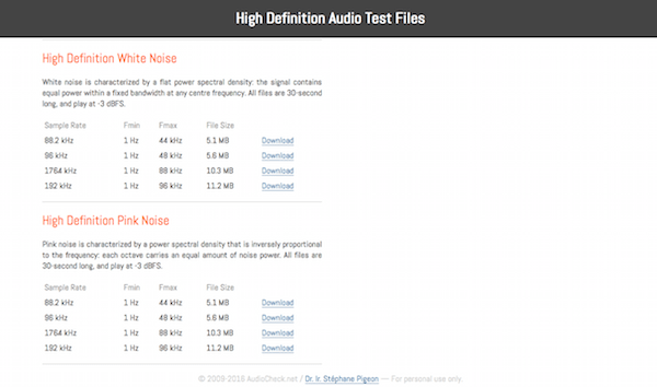 High Definition Audio Test Files